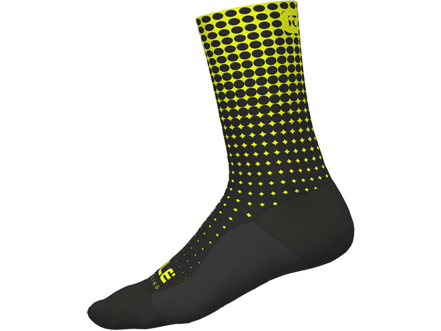 Alé Cycling Dots Calcetines, nero-glo fluo/black-yellow fluo